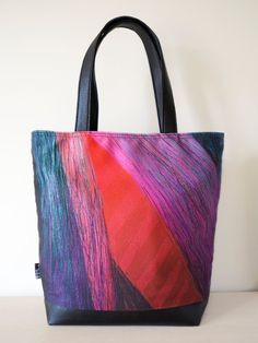 Colored graph  Shoulder bag Large bag Tote painted by VELIBARDO