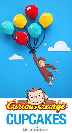 Easy balloon cake recipe and free printables to prepare adorable Curious George Cupcakes. Kids birthday cake and fun school class party ideas. Curious George Party, Curious George Cupcakes, Curious George Birthday, Cool Birthday Cakes, Birthday Cupcakes, Birthday Parties, Cupcakes Kids, 3rd Birthday, Birthday Ideas