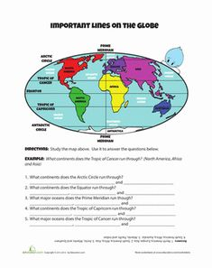 You can't see them, but there are lines all over the globe that tell us where to go! Learn about the imaginary lines on the globe in this geography sheet. Five Themes Of Geography, Geography Worksheets, Geography Activities, Homeschool Worksheets, Math Workbook, Social Studies Worksheets, Teaching Geography, Social Studies Activities, World Geography