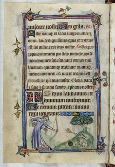 Taymouth Hours, Fol 068v, Lady Shooting, a manuscript from ~1326-1350, England
