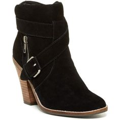 DV By Dolce Vita Connary Bootie ($80) ❤ liked on Polyvore featuring shoes, boots, ankle booties, ankle boots, black sued, suede ankle booties, high heel booties, buckle booties and black suede boots