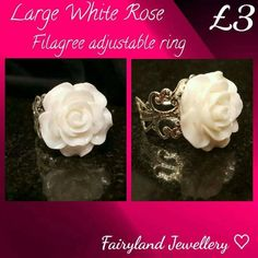 This item is fashion jewellery. White resin rose mounted on a silver in colour filigree adjustable ring. Jewelry Gifts, Unique Jewelry, Punk Goth, Rainbow Dash, Large White, White Roses, Craft Supplies, Christmas Gifts, Fashion Jewelry