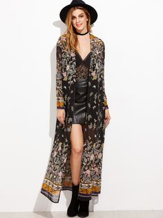 Shop Black Botanical Print Maxi Kimono online. SheIn offers Black Botanical Print Maxi Kimono & more to fit your fashionable needs.