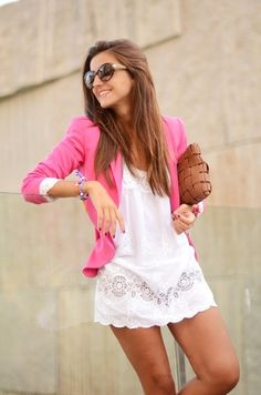 Pink blazer and white dress