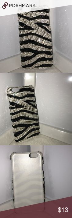 IPHONE 6/6S Swarovski case NO TRADES -great excellent used condition  -beautiful print -zebra Swarovski-gorgeous rhinestone all around back if case attached firmly, hard plastic, snap on protective case -comes from a pet free and smoke free home Accessories Phone Cases