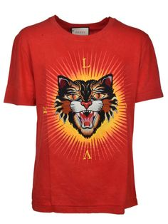 GUCCI Gucci Angry Cat Appliqué T-shirt.  gucci  cloth   Mens Cotton 8f17bd1c65e