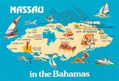 Nassau in the Bahamas Map featuring places to visit and Hotels unused, from 2011 Bahamas Vacation, Bahamas Cruise, Nassau Bahamas, Caribbean Cruise, Cruise Vacation, Disney Cruise, Vacation Trips, Vacation Spots, Atlantis Bahamas