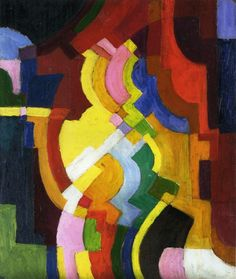 August Macke, Fargibe Formen III, 1914. This is completely an Orphic painting, showing the great influence Delauney had on him.