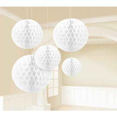White Honeycomb Balls   5pc for $15.25 in Lanterns & Pom Poms - Decorations - Wedding