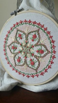 "tinypaintbrushartwork: "" Roses embroidered mandala Side note: Okay, so really the ""art every day"" thing fell apart when the school year started and I had 6 preps. But creativity must go on! """