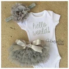 SET Hello World! Newborn baby girl take home hospital outfit, flower headband, shirt white bodysuit, silver sparkle glitter ruffle bloomers by HoneyLoveBoutique