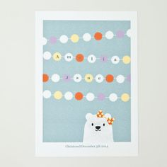 """Personalised christening bear with pompoms, A4 (8"""" x 11"""") print in light grey with orange, yellow, lilac and white, unframed"""