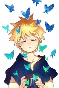 Naruto with flying blue butterfly