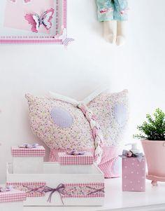 Almofada de patchwork em formato de borboleta / DIY, Craft, Upcycle