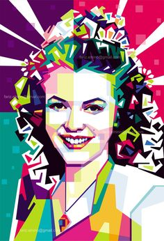 Marylin Monroe in WPAP #illustration #art #vector #colorfull #corel #AI #photoshop