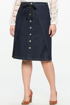 9df2a4e89b0 17 Plus-Size Fashion Looks to Refresh Your Winter Wardrobe. Denim Skirt ...