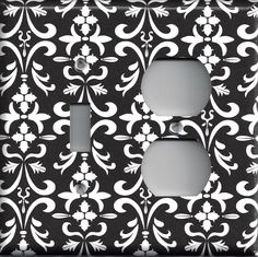 Black and White Filigree Damask Hand Made Light Switchplates & Outlet Covers