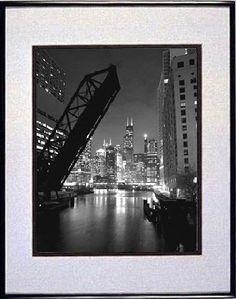 Framed Chicago Art Photography - Black and White Skyline Print, Photo
