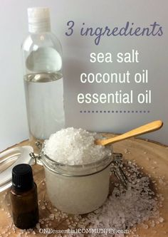 Easy 3 ingredient salt scrub exfoliates, moisturizes, & nourishes skin. My favorite thing is that there are 18 recipes for essential oil blends to customize your salt scrub!! blends include: cellulite helper, calm skin, muscle soother, grapefruit & fir, mojito, invigorating, rosemary & lavender, sea breeze, lemonade, good times, Hawaii dreams, autumn breeze, sweater weather, gingerbread, candy cane, and Christmas tree. So fun!! These would make great gifts!