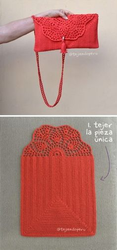 Handbag Crochet Pattern Tutorial # crochet handbags Pretty Lace Crochet Handbag With Pattern Crochet Clutch Bags, Crochet Tote, Crochet Handbags, Crochet Purses, Free Crochet, Knit Crochet, Simple Crochet, Crochet Bikini, Purse Patterns Free