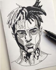 art in 2019 Dark Art Drawings, Pencil Art Drawings, Art Drawings Sketches, Tattoo Drawings, Cool Drawings, Sketch Art, Art Du Croquis, Rapper Art, Pen Art