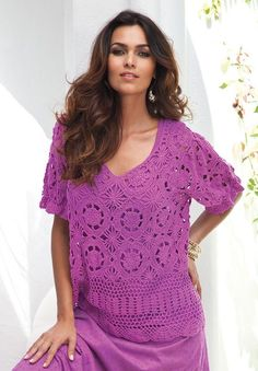 Roamans Plus Size French Crochet Sweater.