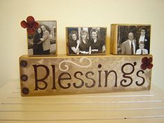 Wood Sign Decor Family blessings with photo blocks primitive and rustic Fall/Autumn decor Christmas December personalized pictures of family...