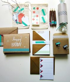 Washi Tape Stationery Set DIY project on Skip To My Lou: make flat cards, greetings, stickers, labels, tags, packaging, and more!
