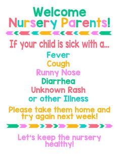 Lds Nursery Sick Kid Printable