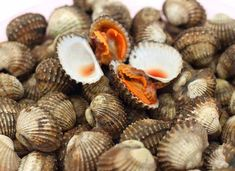 """The """"Blood Clam"""" Anadara grandis in the marketplace. I guess it gets its name from its bright orange mantle and viscera. Restaurant New York, Seafood Restaurant, Healthy Kidneys, African Nations, Raw Cashews, Foods To Avoid, Eating Raw, Food Facts, School Snacks"""
