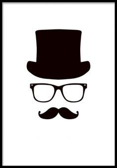 Mr. Hipster poster. Svartvit grafisk plansch. Grafisk svartvit affisch med  en hipster i 508fe77baad45