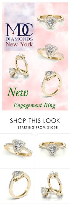 """""""-Trillion Halo Filigree Engagement Ring in Yellow Gold"""" by mdc-diamonds ❤ liked on Polyvore"""