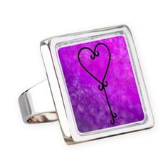 Heartkey Violet square ring