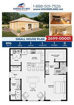 Two Bedroom Tiny House, 1 Bedroom House Plans, Guest House Plans, Small House Living, Tiny House Cabin, Small House Design, Dream House Plans, Small Guest Houses, Best Tiny House