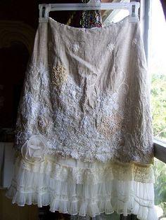 Linen skirt over underskirt. Great way to lengthen too short skirt