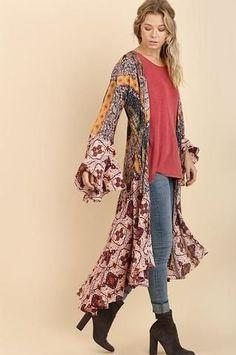 Long Duster Kimono Cardigan Jacket for Women Ladies clothing Boutique Shopping