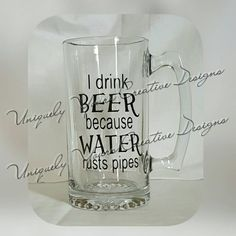 I Drink Beer Mug Dad Beer Mug Personalized Gift Glass Beer Mug Stein Gifts for Men Father's Day Gift Groomsmen Gifts Beer Lovers Mug