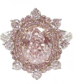 Pink and white diamond ring by Christian Tse ht