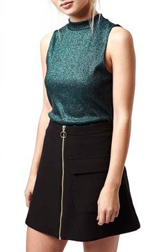 A sparkly finish perfects the playful vintage vibe of this funnel-neck tank.@nordstrom