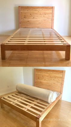 How to build beautiful $100 easy DIY bed frame & wood headboard with natural finishes & $1500 look! Best tips & free plan for king, queen & full bedframes! - A Piece of Rainbow #diybeds #diybed #bedroom #bed #diy #furniture #woodworkingprojects woodworking plans, #apieceofrainbow #diy #homedecor #hacks bedroom ideas, #farmhouse farmhouse decor, west elm, pottery barn, anthropologie