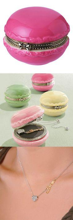 Hot Pink Macaroon Trinket Box & Necklace Set