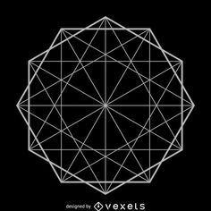 Illustrated sacred geometry design featuring a decagon formation. Design made from geometric shapes in gray tones over black. Sacred Geometry Patterns, Geometric Construction, Unique Symbols, Geometric Shapes, Geometric Tattoos, String Art, Pattern Wallpaper, Designs To Draw, Pinterest Blog