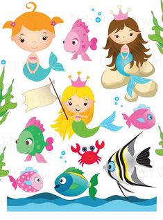 UNDER SEA GARDEN - Clip art set in premium quality 300 dpi, Png files. For small commercial and pers