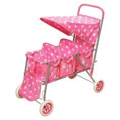 "Badger Basket Triple Doll Stroller - Polka Dots. She said ""I'm going to have 3 babies mommy"""