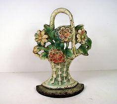 Cast Iron Door Stop of Mixed Flowers in a Wicker Basket