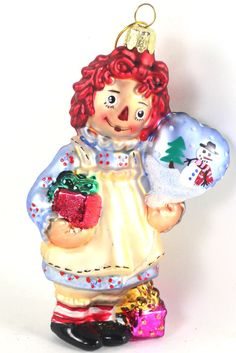 """Raggedy Ann With Balloon and Gifts 5"""" Glass Christmas Ornament NEW"""