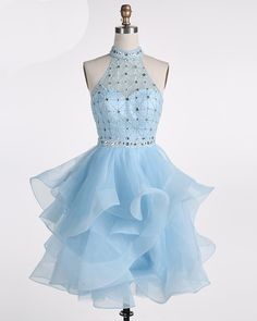 Ice blue Tulle Strapless Short Beaded Prom Dress, Homecoming Dress sold by Friday Dresses. Shop more products from Friday Dresses on Storenvy, the home of independent small businesses all over the world. Blue Homecoming Dresses, Hoco Dresses, Lace Evening Dresses, Pretty Dresses, Beautiful Dresses, Formal Dresses, Cocktail Gowns, Short Cocktail Dress, Vestidos Deb