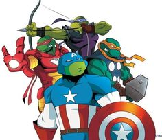 Teenage Mutant Avenger Turtle, wouldn't raph be the hulk you know, anger issues.