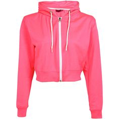 Boohoo Miranda Neon Crop Zip Through Hoody ($12) ❤ liked on Polyvore featuring tops, hoodies, sweatshirts, jackets, shirts, crop tops, neon shirts, zipper hoodie, hoodie sweatshirts and neon pink sweatshirt