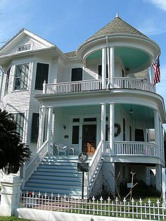 Stupendous porches on this Galveston Victorian, with green ceilings.  How about a little color elsewhere on this deserving house?